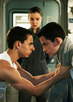 i love how bonzo in the book is all tall and big, but then in the movie he is so small and short, so he has too pull down ender to be able to look at him at the same level.