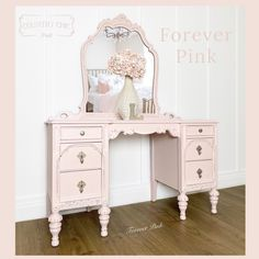 Exclusive Color - Forever Pink — Two Old Souls Antique Vanity, Vintage Vanity, Vintage Pink, Vanity Set, Vanity Ideas, Bedroom Styles, Bedroom Ideas, Old Soul, Country Chic