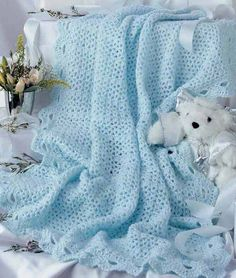 Crochet a Lacy Afghan for Baby with these 7 Keepsake Baby Afghan Crochet Patterns Crochet Baby Pants, Crochet For Boys, Baby Blanket Crochet, Crochet Blankets, Baby Afghan Crochet Patterns, Baby Patterns, Crochet Afghans, Knitting Patterns, Baby Baskets