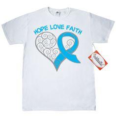 Testicular Cancer Ribbon Swirl Hearts T-Shirt - White   Awareness Ribbon Shirts at Gifts4Awareness.Com
