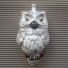 Vintage Christmas Ornament Huge Owl Hand Blown Glass Made In Poland