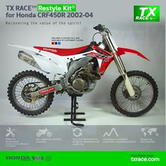 TX RACE™ Restyle Plastic Kit® for Honda CRF450R 2002 2003 2004 is an update and modernization of the aesthetic line of this 4-Stroke model of Honda [CRF] Motocross/Enduro. TX RACE™ offers an attractive solution that is easily assembled, and no chassis modification is necessary. The TX RACE™ Restyle Plastic Kit® notably enhances the appearance of your motorcycle, more than compensating for the cost of the kit. Honda, Mx Bikes, Seat Available, Super Bikes, Motocross, Racing, Motorcycle, Kit, Plastic
