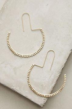 Slide View: 1: Half Moon Hoop Earrings