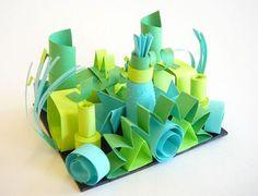 Green paper sculpture   Paper art   kids art ideas
