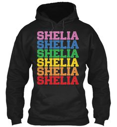 Shelia Rainbow Colors Black Sweatshirt Front
