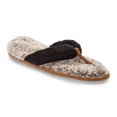 Dearfoams Women's Sweater Knit Thong Slippers