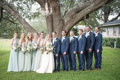 The Best Pink And Green Wedding Ideas – MyPerfectWedding Blue Groomsmen, Groom And Groomsmen Attire, Bridesmaids And Groomsmen, Wedding Bridesmaids, Green Bridesmaids, Sage Green Dress, Navy And Green, Sage Bridesmaid Dresses, Wedding Dresses