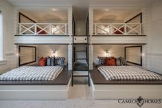 Four in one. Love it! It's a great idea to save space but still get enough room to have a good nights rest. I also love how they put shelving space by the beds for book space, or any other items needed. Pinterest•••Kєℓѕєу