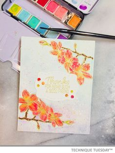 Beautiful watercolor card created with stamps and dies from Technique Tuesday. // TechniqueTuesday.com