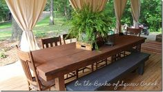 The chairs around the table are antique, but the man of the house built the 99 inch long farm table and bench. Description from onthebanksofsquawcreek.com. I searched for this on bing.com/images