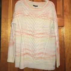 Cream and light orange sweater Light orange and cream sweater American Eagle Outfitters Sweaters Crew & Scoop Necks
