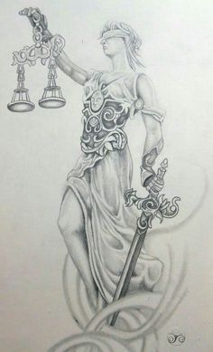 Lady Justice Photo: My take on lady justice, drafted up for a tattoo. This Photo was uploaded by Klyde_Chroma Bild Tattoos, New Tattoos, Body Art Tattoos, I Tattoo, Sleeve Tattoos, Tattoo Designs, Tattoo Design Drawings, Tattoo Sketches, Biomech Tattoo
