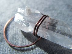Quartz Crystal and Copper Pendant by BuyGingerWire on Etsy