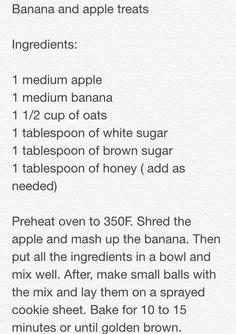 Banana and apple horse treats