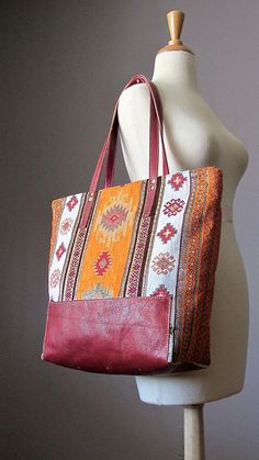 Bohemian Leather Shoulder Tote Bag Fabric Leather bag