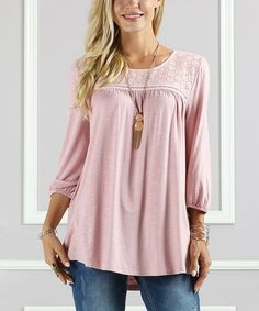 Look at this #zulilyfind! Dusty Rose Eyelet-Yoke Three-Quarter Sleeve Tunic - Plus Too by Suzanne Betro #zulilyfinds