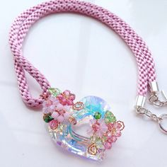 Pink Crystal Pendant Necklace Handmade using от PastelGems на Etsy