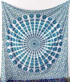 WHITE GREEN Mandala Cotton Large Fabric Tapestry Hippie Wall Hanging Bedspread Bohemian Boho Bedding Throw Ethnic Home Decor - FabricSarmaya