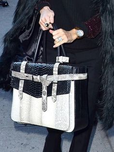 Business Beauty, Business Beauty    Rachel Zoe puts a fashionable spin on the boxy briefcase with this structured snakeskin shape.