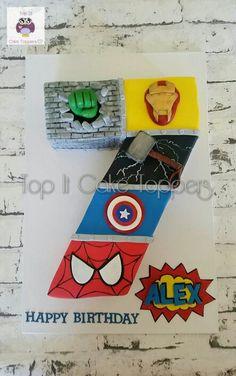 Superhero cake. Marvel Avengers cake. Number cake.