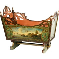 Vintage Antique Century Dutch painted Cradle Holland Circa 1830 Charming Dutch Painted Cradle with bucolic pastoral scenes painted on either side. - Charming Dutch Painted Cradle with bucolic pastoral scenes painted on either side. Hand Painted Furniture, Baby Furniture, Antique Furniture, Rustic Furniture, Modern Furniture, Business Furniture, Furniture Design, Outdoor Furniture, Luxury Furniture