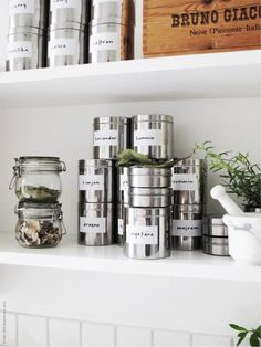 Ikea SÄVERN stainless steel jars. Perfect for storing teas, etc. $12.99 http://www.ikea.com/us/en/catalog/products/60162594/