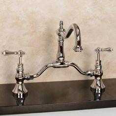 Kaitlyn Bridge Faucet - Lever Handles - Overflow - Polished Nickel CODE: 100251