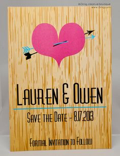 Wedding Save the Date  Heart with Arrow on Wood  Vows by by r3mg, $87.50