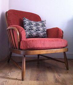 Ercol vintage retro chair danish style 1950s eames era john lewis fabric