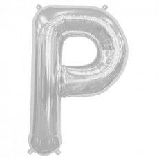 """Ballon aluminium argent """"P"""" 34"""""""