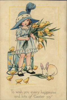 "Vintage postcard of girl dressed up and holding tulips, ""To wish you every happiness and lots of Easter joy. Easter Art, Easter Bunny, Happy Easter, Vintage Easter, Vintage Holiday, Vintage Greeting Cards, Vintage Postcards, Fete Pascal, Illustrations Vintage"