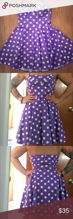 Modcloth polka dot dress Originally priced at $80, this Modcloth purple polka dot dress fits amazingly and was only worn twice. Dry clean only, Fits incredibly! ModCloth Dresses Backless