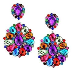 3-1/4 Multicolor Rhinestone Big Flower Clip-on Silver Earrings Pageant Drag Queen Wedding Bridal Evening by Fashion Jewelry -- Awesome products selected by Anna Churchill