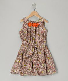 Take a look at this Brown Floral Bubble Dress - Toddler & Girls by Sophie Catalou on #zulily today!