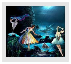 """""""MOONLIGHT:  DANCE OF THE DOLPHINS"""" by melange-art ❤ liked on Polyvore featuring art"""