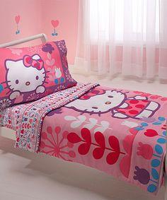 Love this Hello Kitty Four-Piece Toddler Bedding Set on #zulily! #zulilyfinds