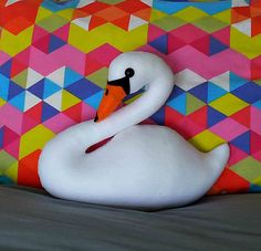 Swan cushion. Felt swan pillow. Decorative pillow. Swan faux taxidermy. Stuffed swan. Made to order. - pinned by pin4etsy.com