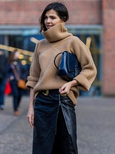 OverSized Jumper Or Sheer Tank Blouse Under Cropped Turtle Neck, Wrap Skirt, Textured Leggings, Shearling Jacket, Oxfords Or Trainers