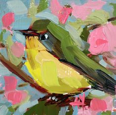 Yellow Chat no. 3 Original Oil Painting by Angela Moulton