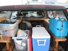 """""""Loaded up for the weekend. Since it's only a couple of days not really using the space to it's full potential. Packed 10 gallons of water, cooler, stove, cooking stuff, climbing gear, some clothes, backpack, kindle.""""  [Great job!  Found at http://imgur.com/a/UjzTj#1]"""