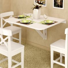 Amazon.com: Large Wall Mount Drop Leaf Table White Solid Wood 36 X 30 Inches Ships Fully Assembled: Furniture & Decor