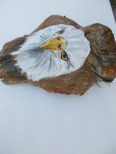 eagle painted on palm frond by paintedpalmsbyjean on Etsy