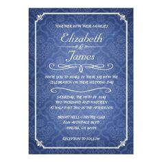 ReviewBlue Damask Vintage Chalkboard Wedding Invitations Personalized Invitationso please read the important details before your purchasing anyway here is the best buy