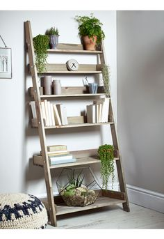 Rustic Wooden Ladder Shelf - Wide - Furniture
