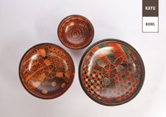 Set of 3 Beautiful Wooden Batik Bowls for house by KAYUcraft, $43.25