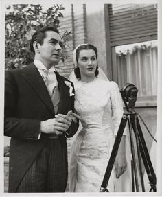 Linda Christian marrying Tyrone Power ~ ORIGINAL 1949 photo