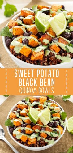 An easy recipe perfect for a healthier holiday lunch or dinner! These Sweet Potato and Black Bean Quinoa Bowls are primarily made up of three main ingredients and then seasoned with some southwest spices. Save this healthy vegetarian main dish for later! Tasty Vegetarian Recipes, Vegetarian Main Dishes, Vegetarian Recipes Dinner, Veggie Recipes, Healthy Dinner Recipes, Whole Food Recipes, Cooking Recipes, Family Recipes, Recipes With Beans Healthy