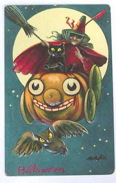 """Vintage Halloween Postcard """"Vintage Halloween"""""""