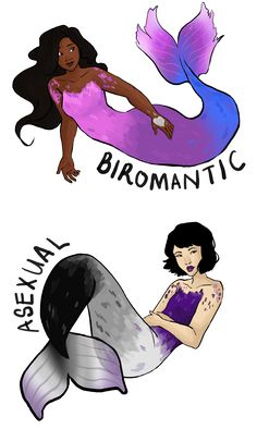 """hahahaidadraws: """" transparent romantic/sexual orientation mermaids!! made biromantic and asexual bc that's what i identify as lmao commissions are open yo """""""
