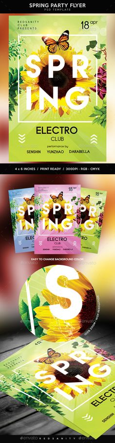 Spring Party Flyer • Spring Fever | Fonts-Logos-Icons | Pinterest